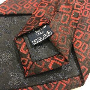 Versace Accessories - Versace Red Black Square Medusa Print Silk Tie EUC